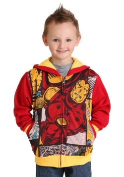 Iron Man Comic Panel Fleece Hooded Zip