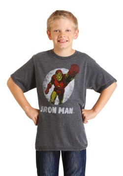 Marvel Iron Man Boys Charcoal Heather Burnout T-Shirt