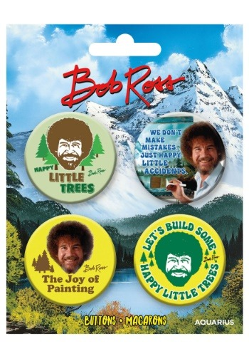 Bob Ross 4-Pack Button Set