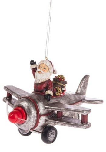 Santa's Ride Airplane Light Up Ornament