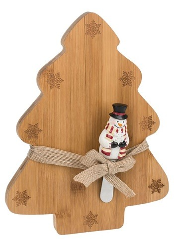 Christmas Tree Cutting Board w/ Snowman Spreader