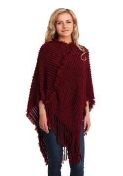 Holiday Cranberry Fringe Shawl