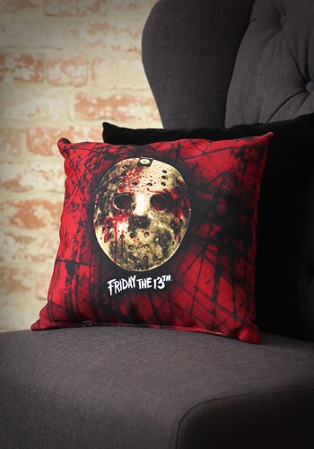 "Friday the 13th Bloody Jason Mask 14"" x 14"" Throw Pillow"