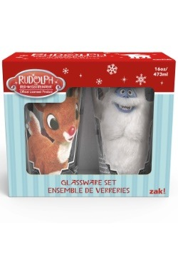 2pc Rudolph Glass Set