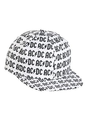 AC/DC Allover Print White Flatbill Snapback Hat