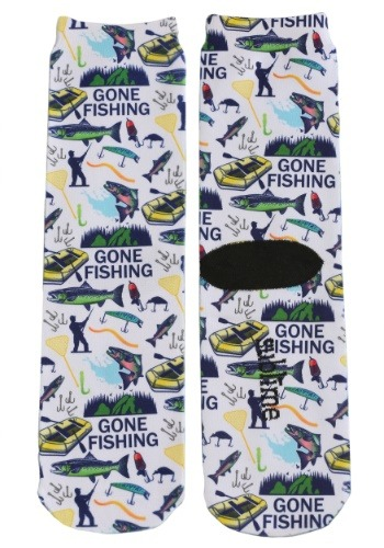 Gone Fishing Adult Crew Socks