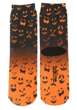 Halloween Jack O' Lantern Faces Adult Crew Socks