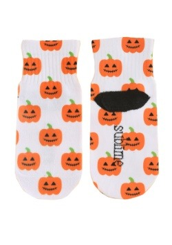 Halloween Pumpkins Kids White Ankle Socks