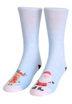 Santa and Rudolph Adult Crew Socks