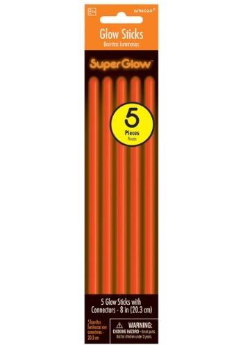 "Orange Glowsticks - 8"" Pack of 5"