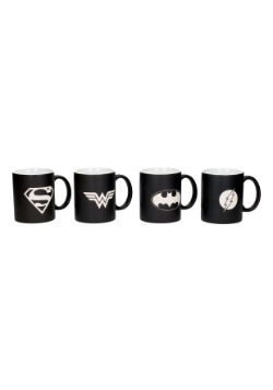 4 PC DC COMICS JUSTICE LEAGUE LOGOS MUG SET