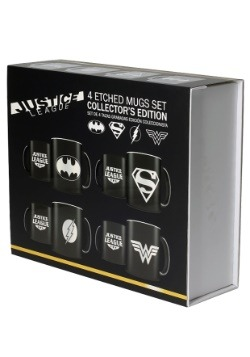 4 PC DC COMICS JUSTICE LEAGUE LOGOS MUG SET alt 1