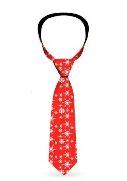 Snowflakes Holiday Red Necktie