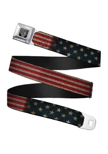 Vintage USA Flag Seatbelt Buckle Belt