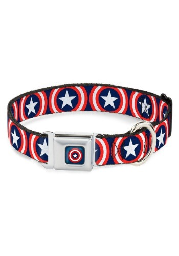 "Captain America Shield Logo Seatbelt Buckle Dog Collar- 1"" W"