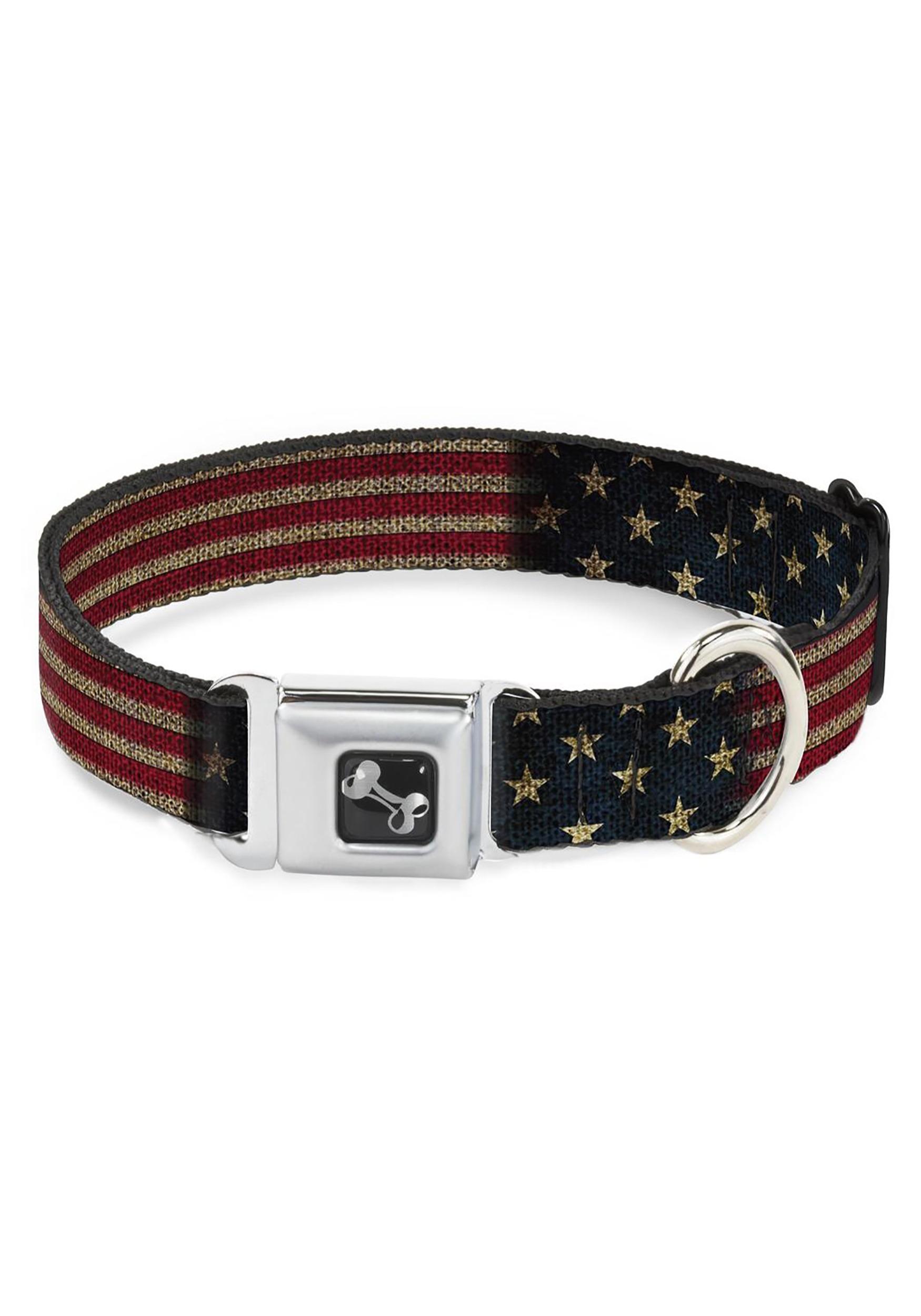 Vintage US Flag Seatbelt Buckle Dog Collar- 1