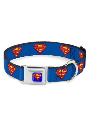 """Superman Shield Logo- Seatbelt Buckle Dog Collar- 1"""" Wide"""