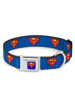 "Superman Shield Logo- Seatbelt Buckle Dog Collar- 1"" Wide"