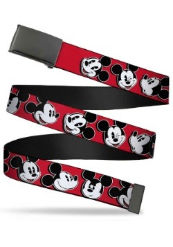 "Disney Mickey Mouse Faces Black Buckle Red Web Belt 1.25"" Wi"