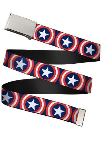 "Marvel Captain America Shield Chrome Buckle Web Belt 1.25"" W"