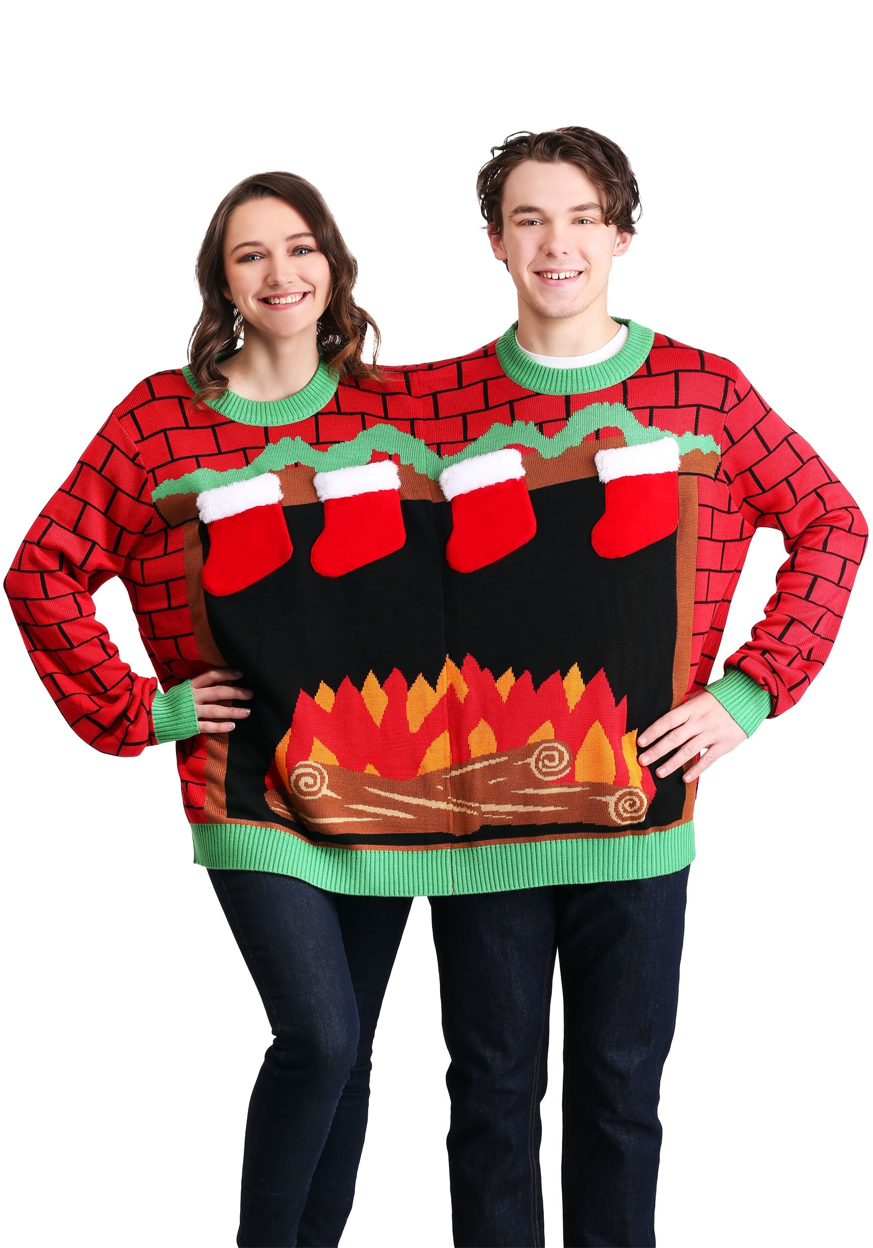 2 Person Christmas Sweater.Tipsy Elves 2 Person Fireplace Adult Ugly Christmas Sweater