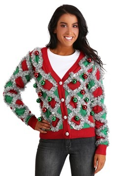 Tipsy Elves Women's Diamond Tinsel Cardigan