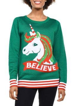 Tipsy Elves Womens Believe Unicorn Ugly Christmas Sweater