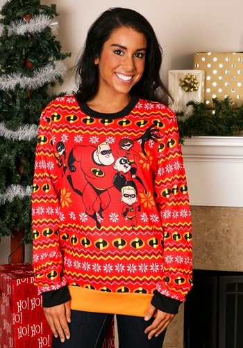 The Incredibles Adult Red Ugly Christmas Sweater