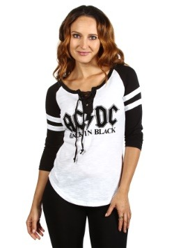 Womens AC/DC Fashion Black/White Raglan Shirt