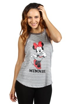 Women's Disney Minnie Mouse Gray Stripes Fashion Tank