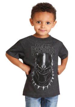 Boys Black Panther Mask Gray T-Shirt