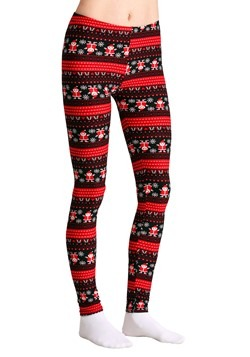 Ugly Christmas Santa Pattern Print Black/Red Leggings