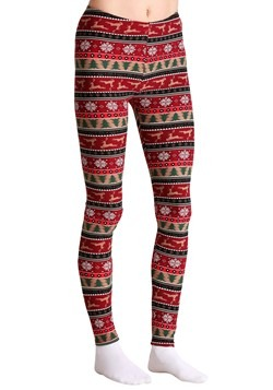 Ugly Christmas Reindeer Pattern Print Red/Green Leggings