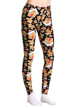 Ugly Christmas Gingerbread Pattern Print Black Leggings
