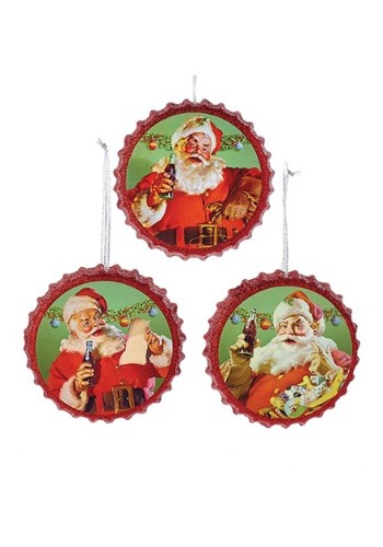 Coca Cola Santa Bottle Caps 3pc Ornament Set