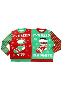 Tipsy Naughty and Nice Two-Person Ugly Christmas Sweater