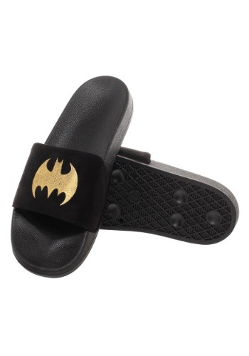 Batman Adult Gold Foil Logo Suede Slide Sandals