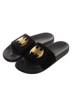 Batman Adult Gold Foil Logo Suede Slide Sandals 4