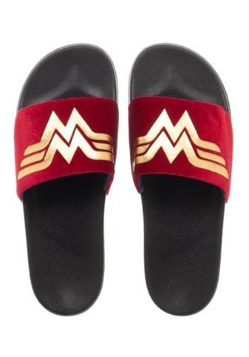Wonder Woman Adult Gold Foil Logo Suede Slide Sandals