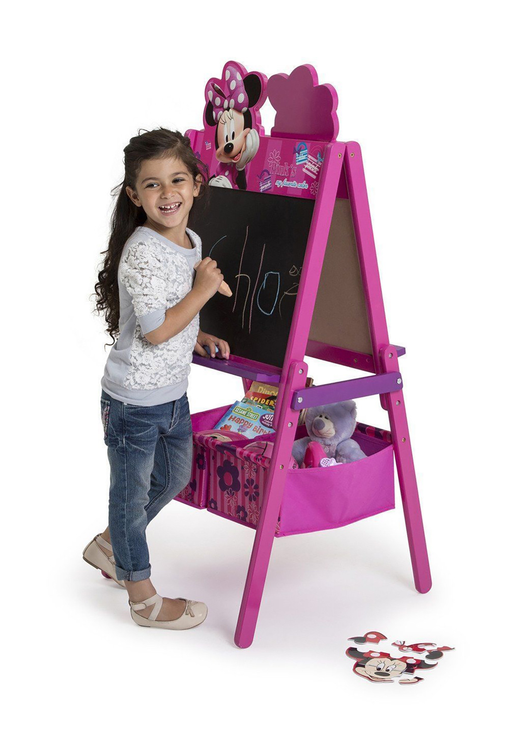 Double Sided Minnie Mouse Wooden Easel With Storage