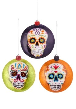 "4"" Day of the Dead Flat Disc Ornament Set"