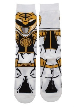 Adult Power Ranger White Ranger 360 Character Crew Sock