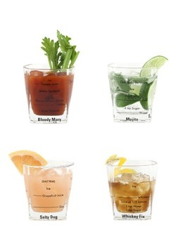 Bartending Recipe Glasses