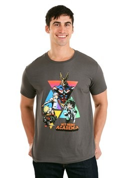 Mens My Hero Academia Characters in Triangles Gray T-Shirt