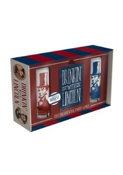 Drinkin' with Lincoln Shot Glass and Playing Cards Set