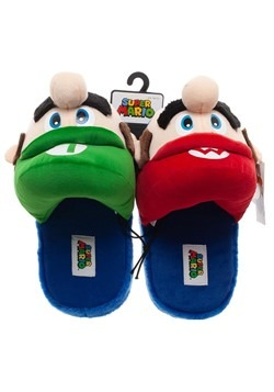 Adult Super Mario Bros. Mario & Luigi Plush 3D Slippers Alt1