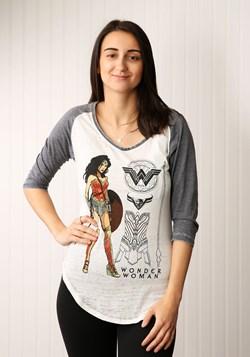 Wonder Woman Posed Heather V-Neck Womens Raglan Shirt