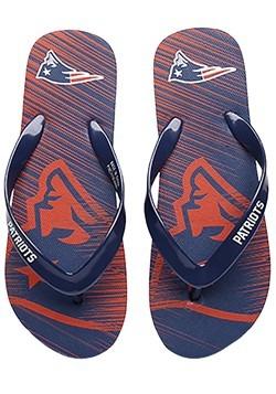 Unisex New England Patriots Diagonal Stripe Fade Flip Flops