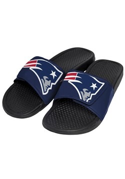 New England Patriots Men's Cropped Big Logo Slide Flip Flops