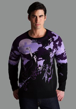 Witch's Moonlight Ride Ugly Halloween Sweater for Adults